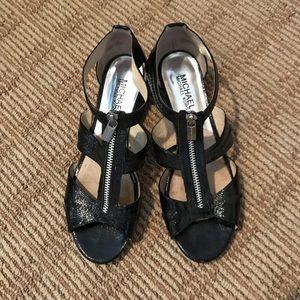 Michael Kors shiny low heel sandal, zip detail 7.5